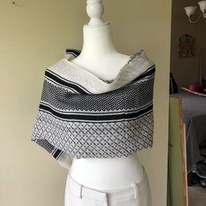 Malene Birger scarf, large wool black & white